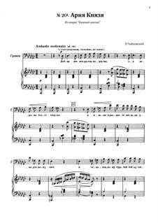 Act III, No.20a Gremin's Aria: Para vocais e piano by Pyotr Tchaikovsky