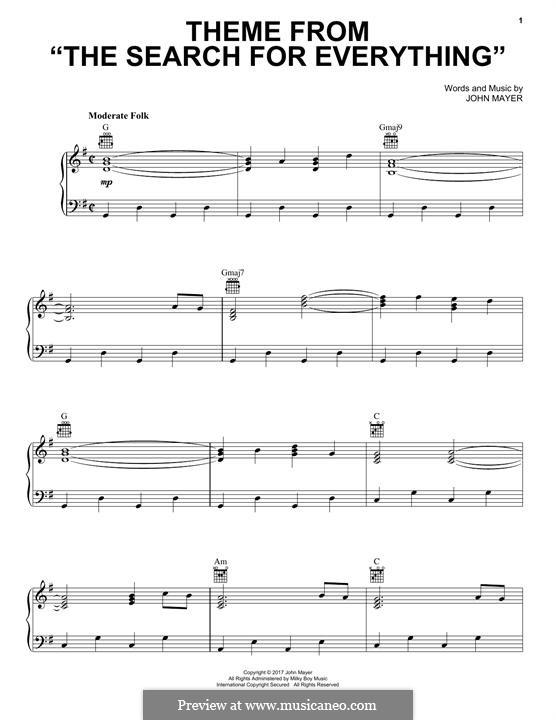 Theme from the Search for Everything: Para vocais e piano (ou Guitarra) by John Mayer