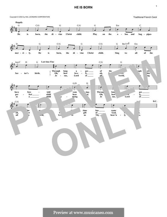 He is Born, the Holy Child (Il est ne, le divin enfant): melodia by folklore