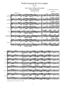 Concerto for Two Violins and Strings No.5 in A Major, RV 519: Score, parts by Antonio Vivaldi