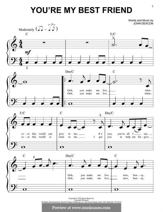You're My Best Friend (Queen): Para Piano by John Deacon