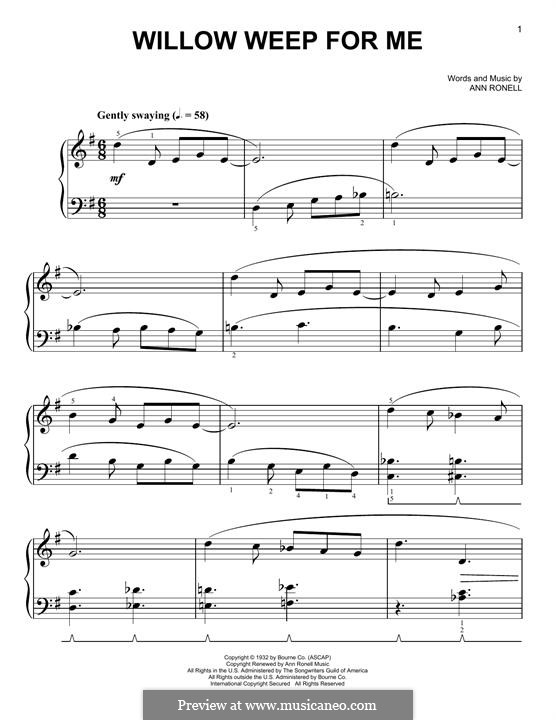 Willow Weep for Me (Chad & Jeremy): Para Piano by Ann Ronell