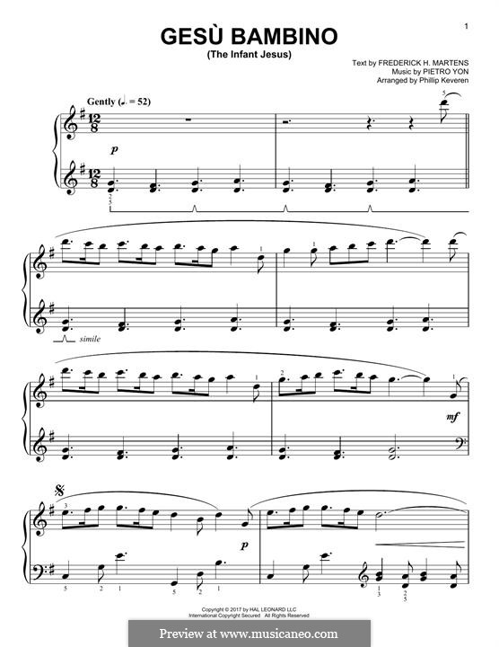Gesu Bambino (The Infant Jesus): Para Piano by Pietro Yon