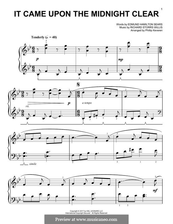 It Came upon the Midnight Clear, for Piano: para um único musico (Editado por H. Bulow) by Richard Storrs Willis