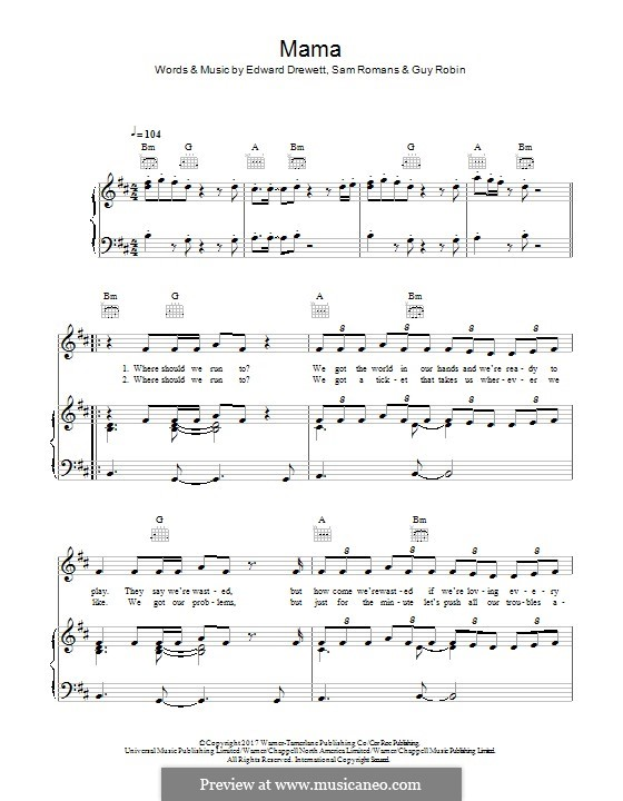 Mama (Jonas Blue feat. William Singe): Para vocais e piano (ou Guitarra) by Ed Drewett, Sam Romans, Guy Robin