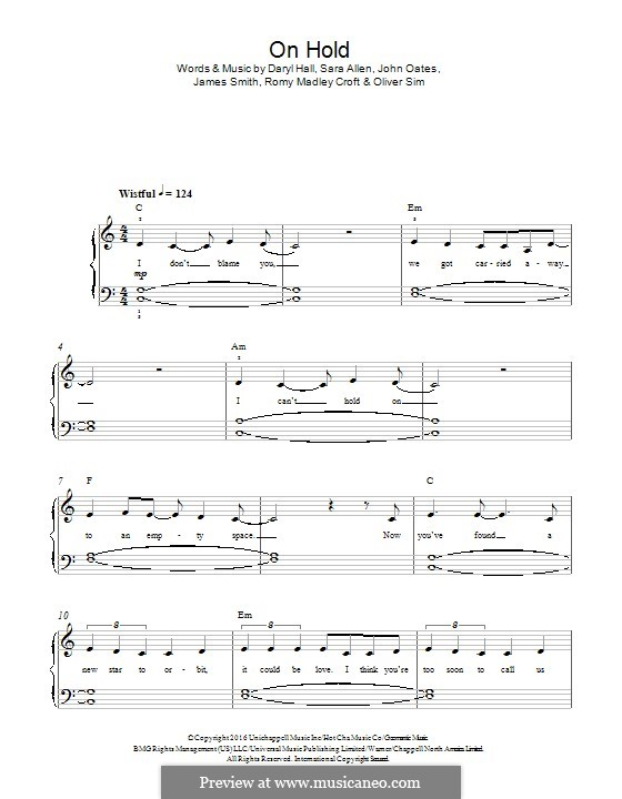 On Hold (The XX): Para Piano by Daryl Hall, James Smith, John Oates, Oliver Sim, Romy Madley Croft, Sara Allen