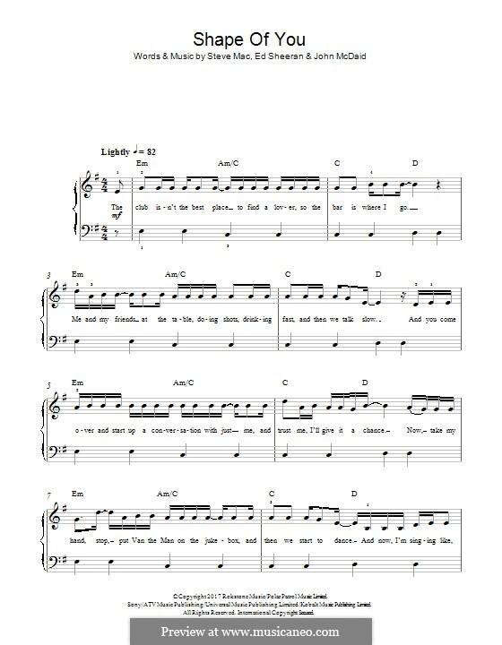 Shape of You: Para Piano by Ed Sheeran, Steve Mac, John McDaid
