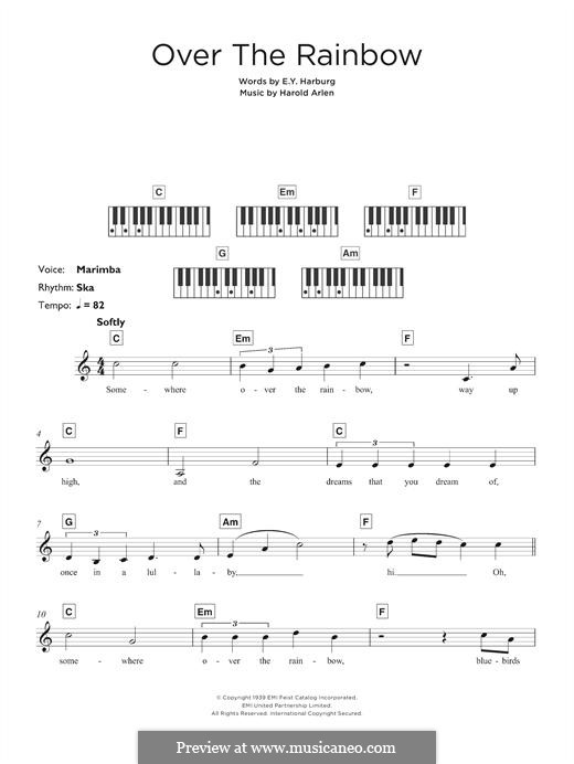Over the Rainbow (from The Wizard of Oz): para teclado by Harold Arlen