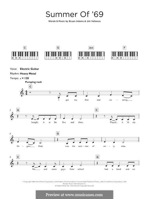 Summer of '69: para teclado by Bryan Adams, Jim Vallance