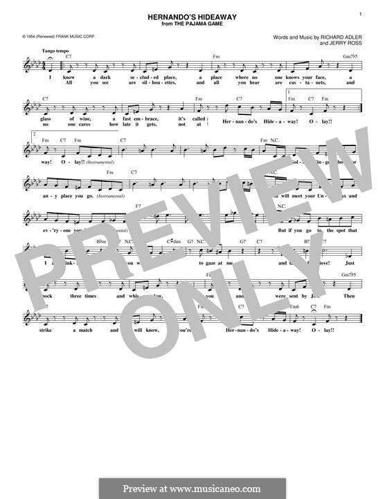 Hernando's Hideaway: melodia by Jerry Ross, Richard Adler