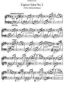 Trois Caprices-Valses, S.214: No.2 Valse mélancolique by Franz Liszt