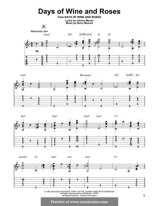 Days of Wine and Roses: Para guitarra com guia by Henry Mancini