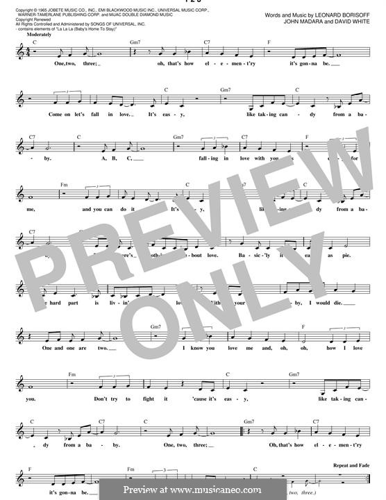 1 2 3 (Len Barry): melodia by David White, John Medora, Leonard Borisoff