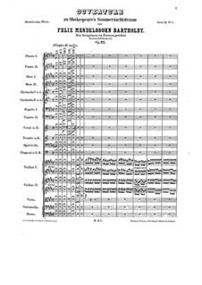 Ein Sommernachtstraum (Midsummer Night's Dream), Op.21: abertura by Felix Mendelssohn-Bartholdy