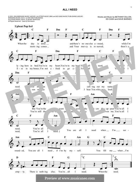 All I Need: melodia by Ed Cash, Dave Barnes, Bethany Dillon
