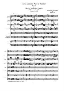 Concerto for Two Violins and Strings No.8 in A Minor, RV 522: Score, parts by Antonio Vivaldi