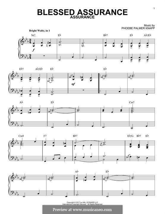 Blessed Assurance: Para Piano by Phoebe Palmer Knapp