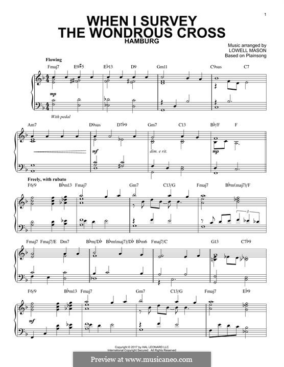 When I Survey the Wondrous Cross: Para Piano by Lowell Mason