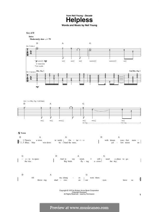 Helpless: Para guitarra com guia by Neil Young