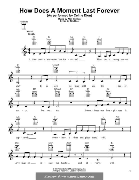 How Does a Moment Last Forever (Celine Dion): para ukulele by Alan Menken