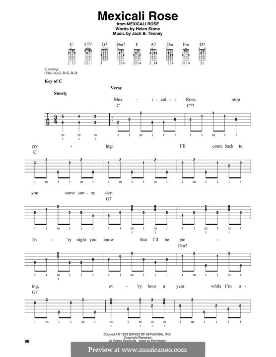 Mexicali Rose (Bing Crosby): For banjo by Helen Stone, Jack B. Tenney