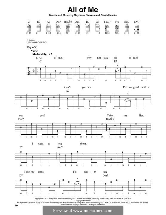 All of Me: For banjo by Seymour Simons, Gerald Marks