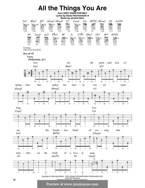 Instrumental version: For banjo by Jerome Kern
