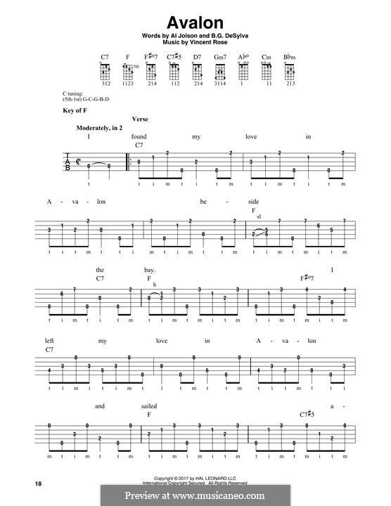 Avalon (Al Jolson): For banjo by Vincent Rose