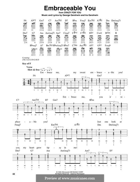 Embraceable You: For banjo by George Gershwin