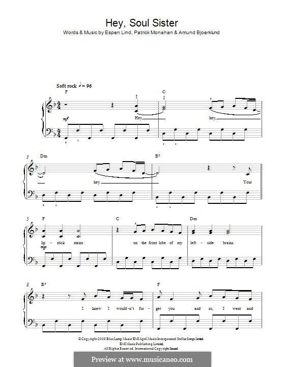 Hey, Soul Sister (Train): Para Piano by Amund Bjorklund, Espen Lind, Patrick Monahan