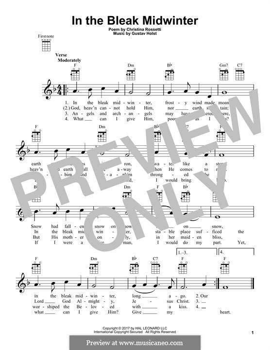 In the Bleak Midwinter: para ukulele by Gustav Holst
