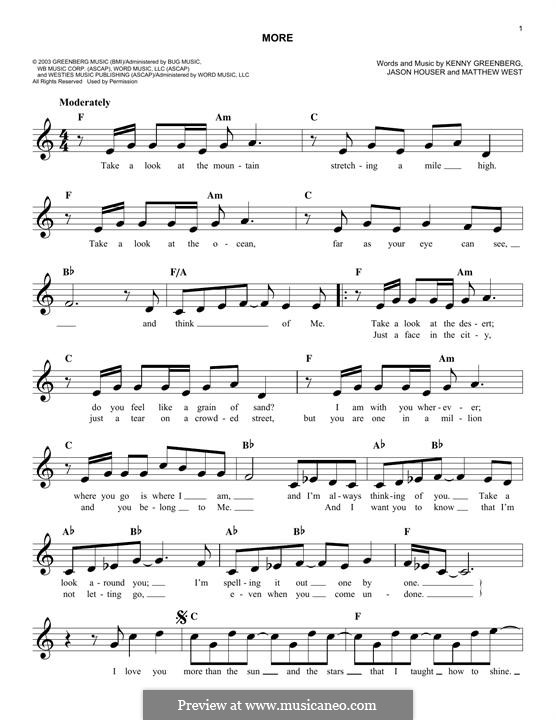 More (Matthew West): melodia by Jason Houser, Kenny Greenberg
