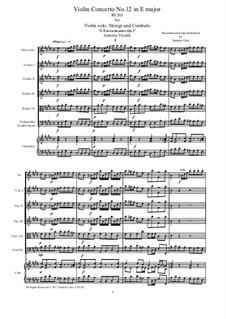 Concerto for Violin and Strings No.12 in E Major, RV 265: Score, parts by Antonio Vivaldi