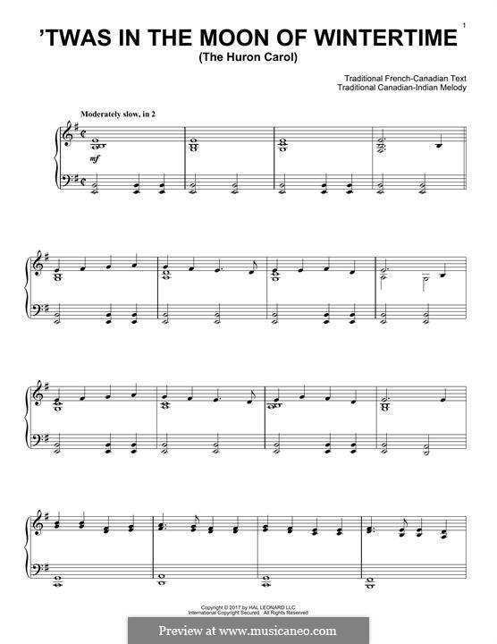The Huron Carol: Para Piano by folklore
