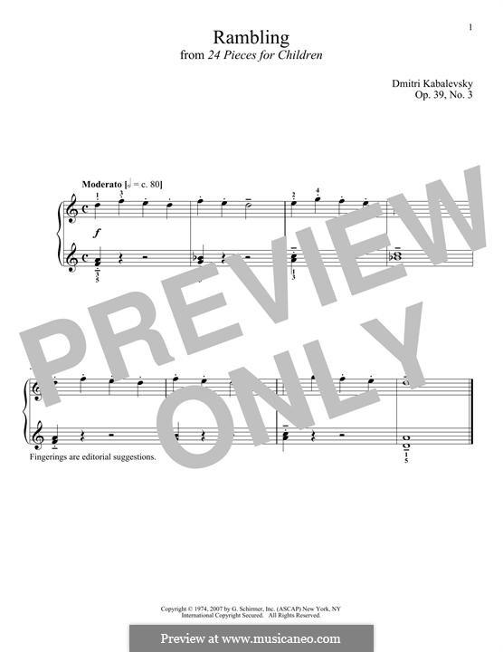 Twenty-Four Easy Pieces, Op.39: No.3 Rambling by Dmitri Kabalevsky