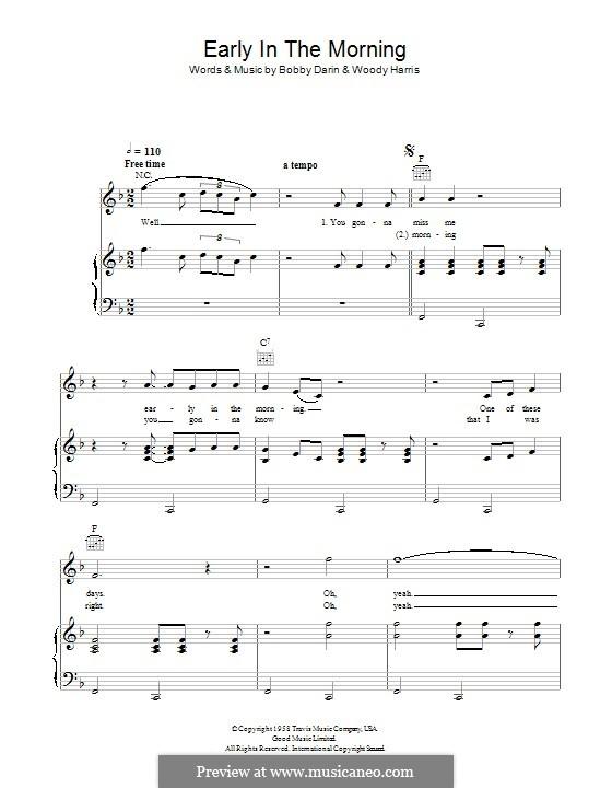 Early in the Morning (Buddy Holly): Para vocais e piano (ou Guitarra) by Bobby Darin, Woody Harris