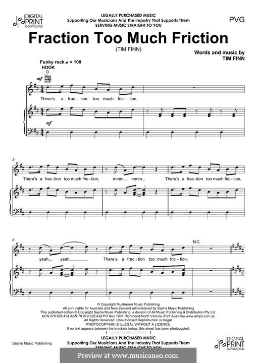Fraction Too Much Friction (Split Enz): Para vocais e piano (ou Guitarra) by Tim Finn