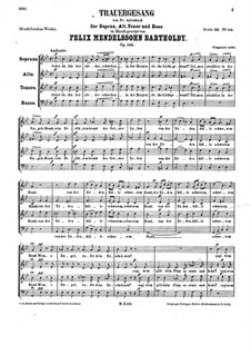 Funeral Song, Op.116: For mixed choir a cappella by Felix Mendelssohn-Bartholdy