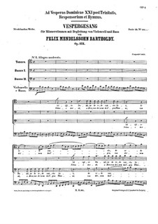 Adspice Domine de sede, Op.121: For male choir and cello by Felix Mendelssohn-Bartholdy