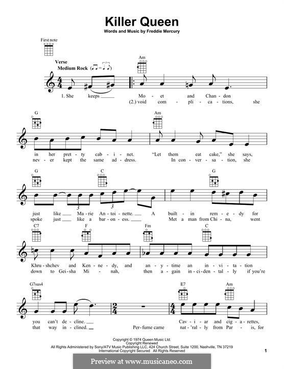 Killer Queen (Queen): para ukulele by Freddie Mercury
