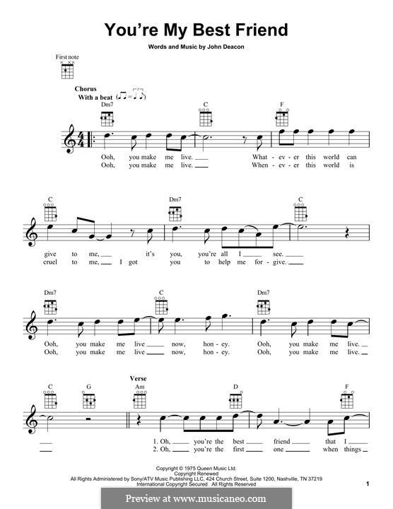 You're My Best Friend (Queen): para ukulele by John Deacon