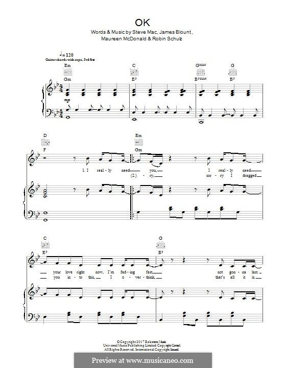 OK: Para vocais e piano (ou Guitarra) by James Blunt, Steve Mac, Maureen McDonald, Robin Schulz
