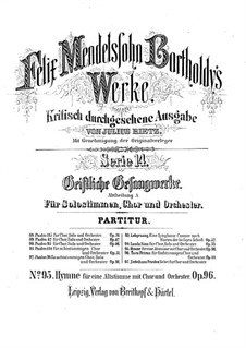 Hymn, Op.96: For alto, choir and orchestra by Felix Mendelssohn-Bartholdy