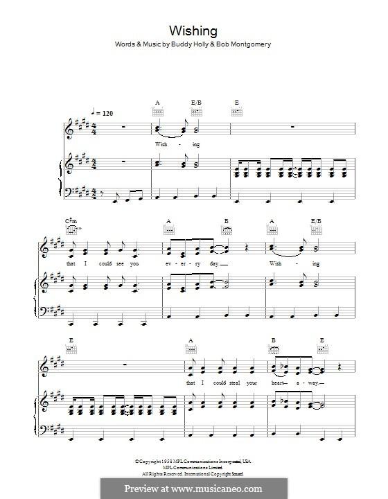 Wishing (Buddy Holly): Para vocais e piano (ou Guitarra) by Bob Montgomery, Buddy Holly