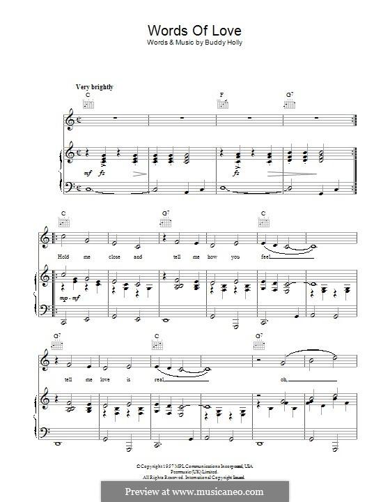 Words of Love: Para vocais e piano (ou Guitarra) by Buddy Holly