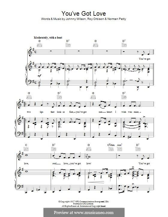 You've Got Love (Buddy Holly): Para vocais e piano (ou Guitarra) by Johnny Wilson, Norman Petty, Roy Orbison
