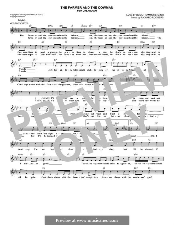 The Farmer and the Cowman (from Oklahoma!): melodia by Richard Rodgers