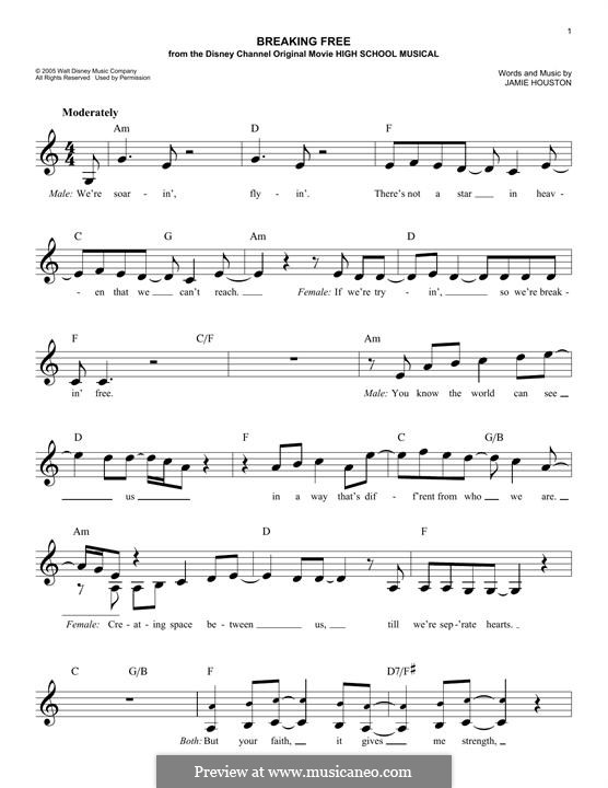 Breaking Free (from High School Musical): melodia by Jamie Houston