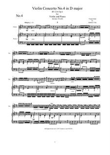 Six Violin Concertos, Op.6: Concerto No.4 in D Major. Version for violin and piano by Antonio Vivaldi