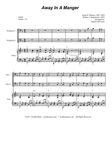 Away in a Manger: For trombone duet and piano by James R. Murray